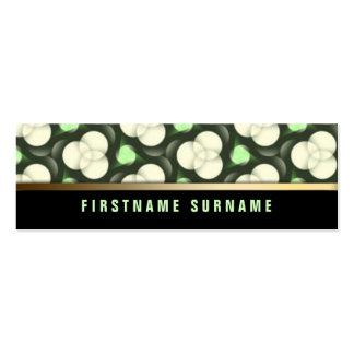 Green Creme Circles Pattern | Black Mini Biz Cards Pack Of Skinny Business Cards