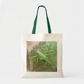 Green Cricket on a Leaf Tote Bag
