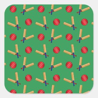 green cricket pattern square sticker