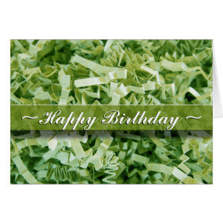 Green Crinkled Shreds Card