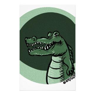 green crocodile stationery design