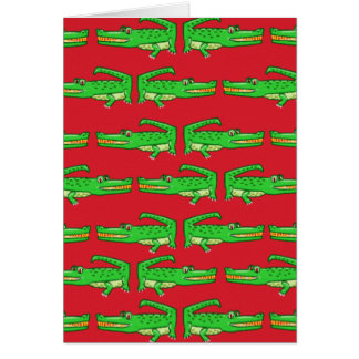 Green Crocodiles On Red Card