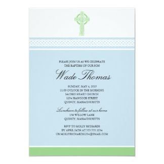 Green Cross Baptism Christening 13 Cm X 18 Cm Invitation Card