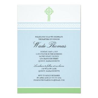 Green Cross Baptism Christening Card