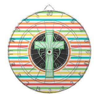 Green Cross Bright Rainbow Stripes Dart Board