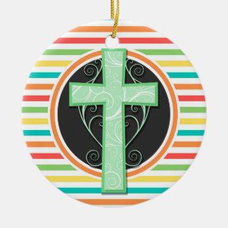 Green Cross; Bright Rainbow Stripes Christmas Tree Ornament
