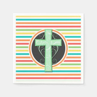 Green Cross; Bright Rainbow Stripes Disposable Napkin