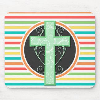 Green Cross; Bright Rainbow Stripes Mouse Pad