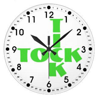 Green Crossword Tick Tock Text Large Clock