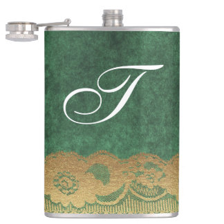 Green Crushed Velvet Gold Lace Letter Flask