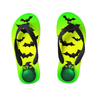 Green Crystal Ball Witch and Bats Kid's Thongs