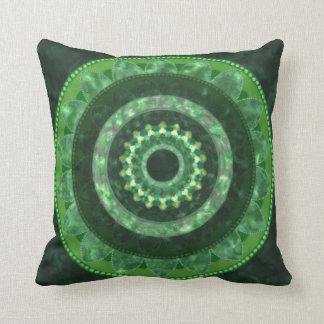 Green crystal mandala on pillow