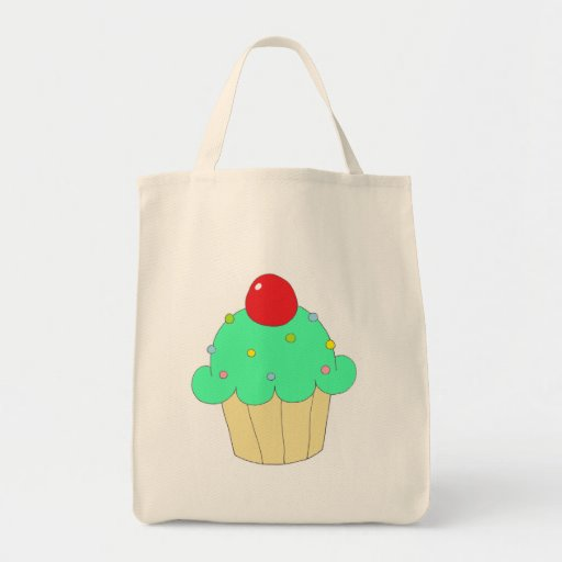 Green Cupcake Canvas Bags
