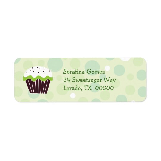 Green Cupcake Return Address Label