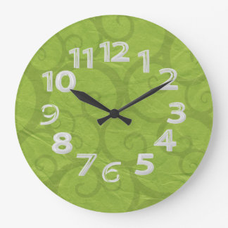 Green curls lines large clock