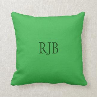Green custom initials monogram cushion pillow