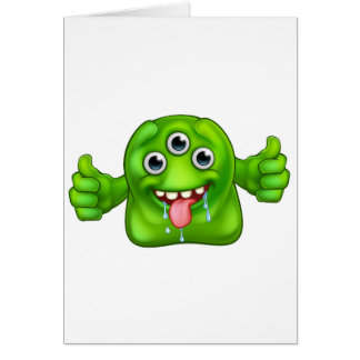 Green Cute Alien Monster Card