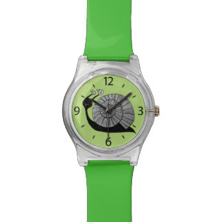 Green Cute Cartoon Snail With Spiral Eyes Kids Watch