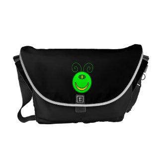 Green Cyclops Monster Face Messenger Bag