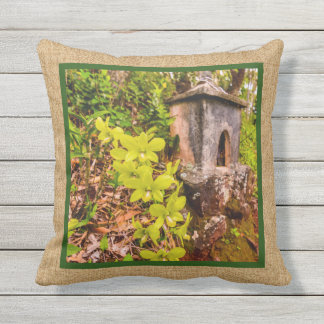 Green Cymbidium Orchid Hawaiian Reversible Outdoor Throw Pillow