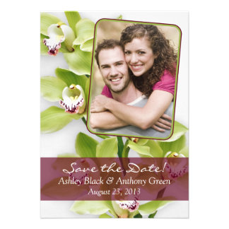 Green Cymbidium Orchid Photo Wedding Save the Date Personalized Announcement