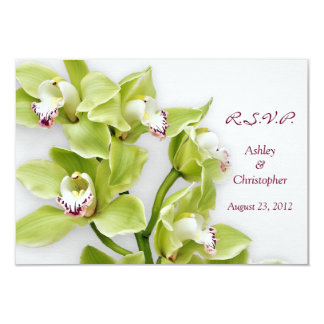 Green Cymbidium Orchid Wedding Reply RSVP Card 9 Cm X 13 Cm Invitation Card