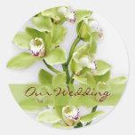 Green Cymbidium Orchid Wedding Stickers