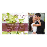 Green Cymbidium Orchid Wedding Thank You Photocard Personalised Photo Card