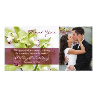 Green Cymbidium Orchid Wedding Thank You Photocard Custom Photo Card