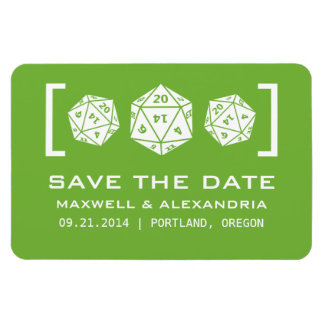 Green D20 Dice Gamer Save the Date Magnet