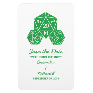 Green D20 Dice Save the Date Magnet