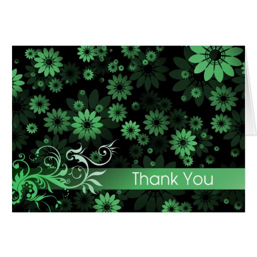 Green Daisies Thank You Card