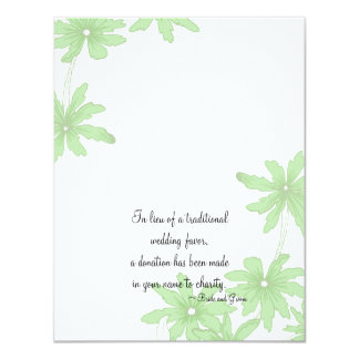 "Green Daisies Wedding Charity Card 4.25"" X 5.5"" Invitation Card"
