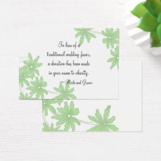 Green Daisies Wedding Charity Favor Card