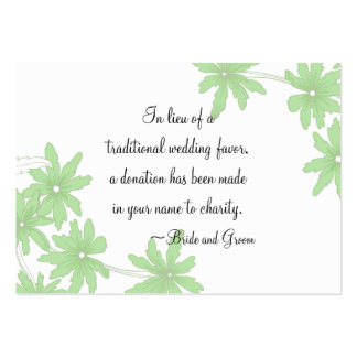 Green Daisies Wedding Charity Favor Card Pack Of Chubby Business Cards