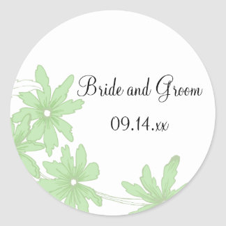 Green Daisies Wedding Envelope Seals Round Sticker