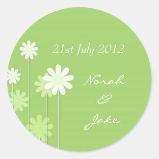 Green Daisy Wedding Envelope Seal Round Sticker