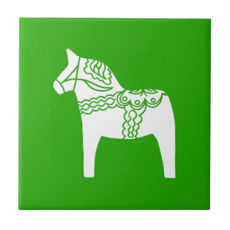 Green Dala Horse Small Square Tile