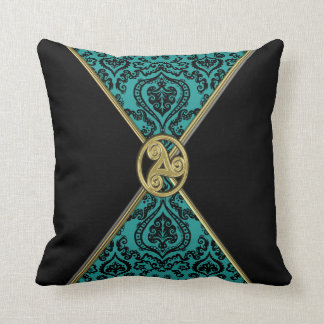 Green Damask and Black with Celtic Knot  Pillow