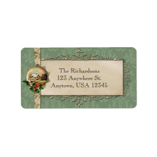 Green Damask and Country Christmas Address Label