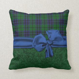 Green Damask and Tartan Plaid Pillow