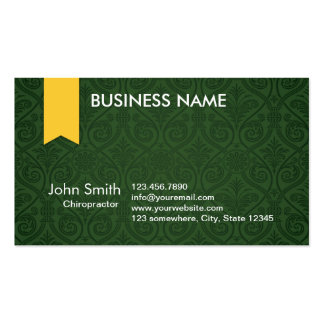 Green Damask Chiropractor Business Card