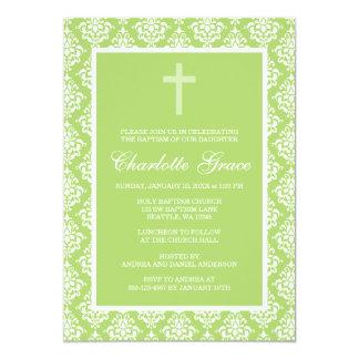 Green Damask Cross Girl Baptism Christening 13 Cm X 18 Cm Invitation Card