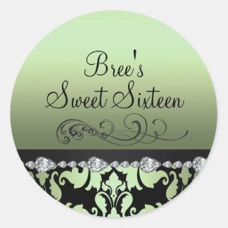 Green Damask & Diamond Sweet 16 Sticker