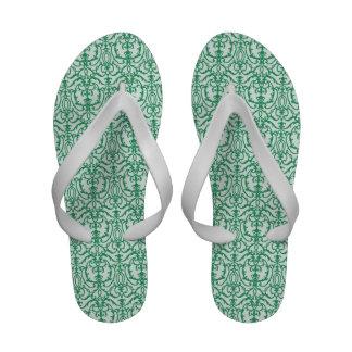 Green Damask Flip Flops