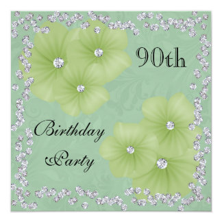 Green Damask & Flowers 90th Birthday 13 Cm X 13 Cm Square Invitation Card