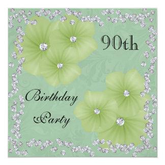 Green Damask & Flowers 90th Birthday 13 Cm X 13 Cm Square Invitation Card