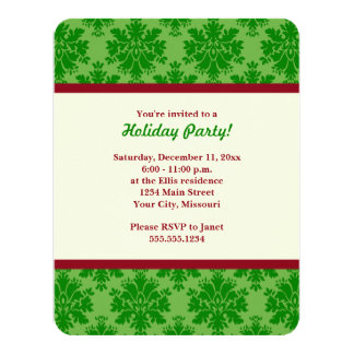 Green Damask Holiday Party Invitations