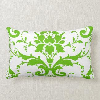 Green Damask Lumbar Pillow