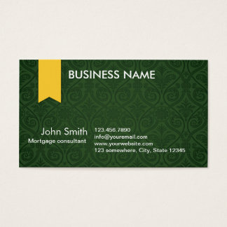 Green Damask Mortgage Agent Business Card